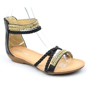Sandales, aspect cuir mate noire, talons compensés 2,5 cm, double brides cheville, Louka