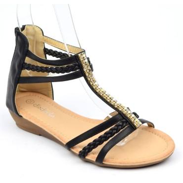Sandales, aspect cuir mate noire, talons compensés 2,5 cm, triple brides cheville, femmes petites pointures, Macha