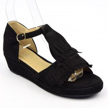 Sandales, aspect daim noire, franges, talons compensés 4 cm, Kelya