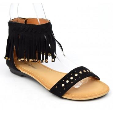 Sandales plates, aspect daim noire, franges, cloutées or, Laosa, femmes petites pointures