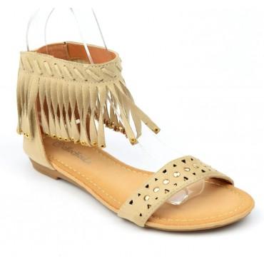 Sandales plates, aspect daim beige, franges, cloutées or, Laosa, femmes petites pointures
