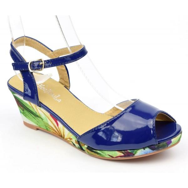 Sandales vernies, talons compensés tissu imprimé, bleues, femmes petites pointures, Manon