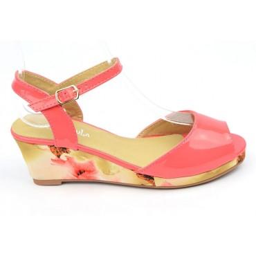 Sandales vernies, talons compensés tissu imprimé, rouge corail femmes petites pointures, Manon