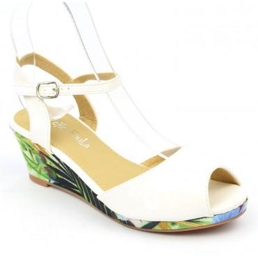 Sandales vernies, talons compensés tissu imprimé, blanches, femmes petites pointures, Manon