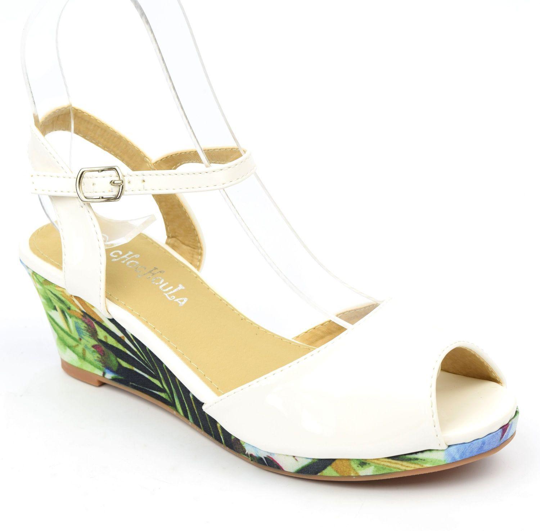Chaussures compensées vernies, blanches, ouvertes, tissu