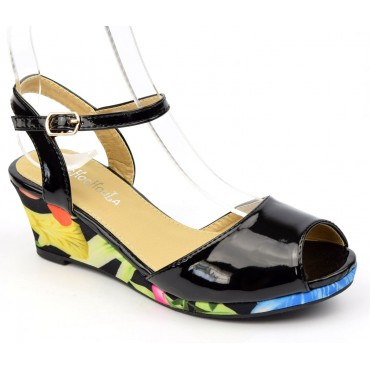 Sandales vernies, talons compensés tissu imprimé, noires, femmes petites pointures, Manon
