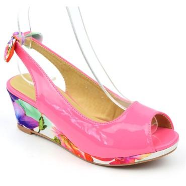 Chaussures compensées vernies, roses, ouvertes, tissu imprimé, talon 6 cm, femmes petites pointures Lolly