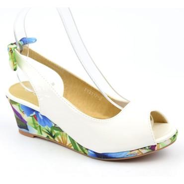 Chaussures compensées vernies, blanches, ouvertes, tissu imprimé, talon 6 cm, femmes petites pointures Lolly