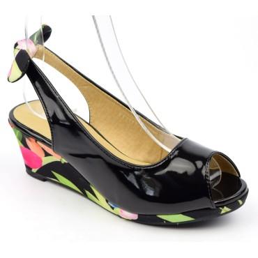 Chaussures compensées vernies, noires, ouvertes, tissu imprimé, talon 6 cm, femmes petites pointures Lolly