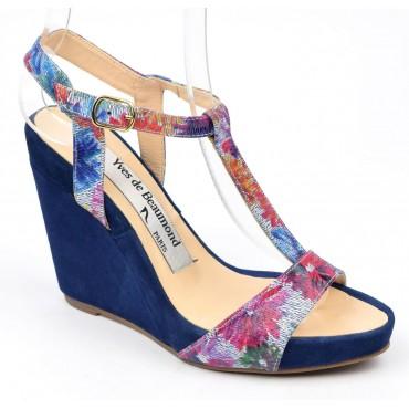 Sandales cuir daim, bleues, talons compensés, Yves de Beaumond, Koline, Petites pointures femme