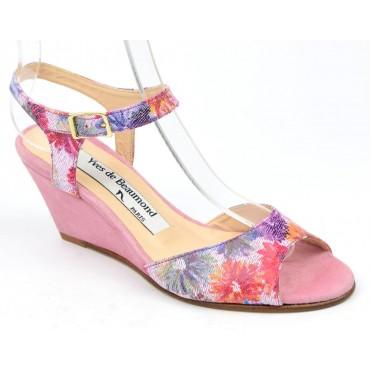 Sandales cuir daim, roses, talons compensés 6,5 cm, Yves de Beaumond, Floralita, Petites pointures femme