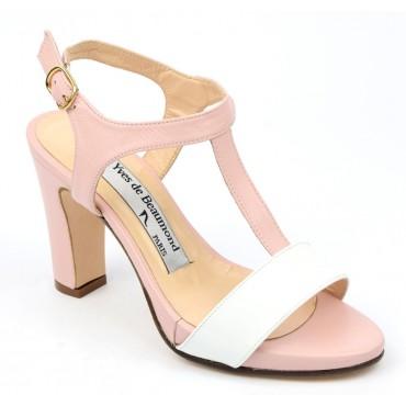 Sandales cuir, rose poudré, Yves de Beaumond, Menaline, Femmes petites pointures