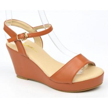 Sandales compensées marrons Brina