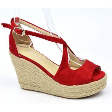 Sandales brides croisées, rouges, Bella, petites pointures femmes