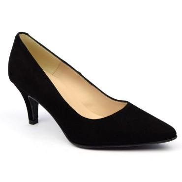 Escarpins cuir daim, noires, Brenda Zaro, bouts pointus, petits talons 6.5 cm, Lise, F97803D