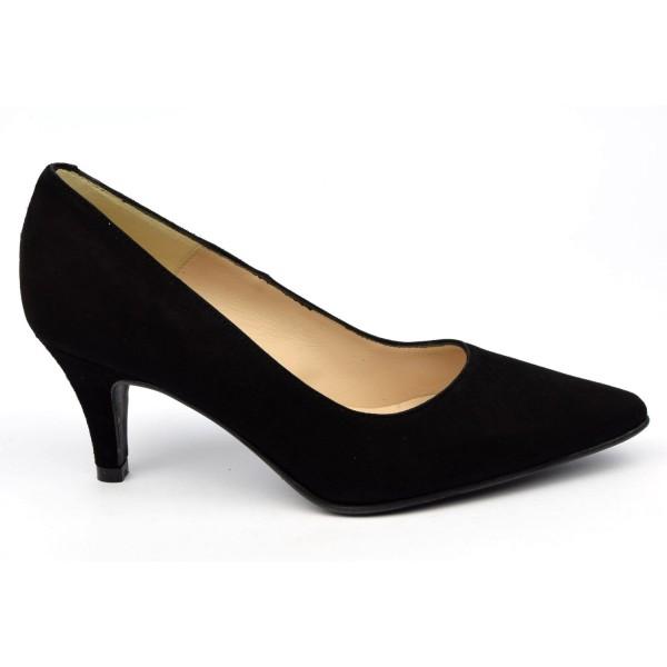 Escarpins cuir daim, noires, Brenda Zaro, bouts pointus, petits talons 6.5 cm, Lise
