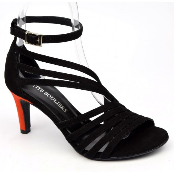 Sandales cuir daim noires, talon bleu roi 7,5 cm, Brenda