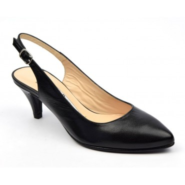 Escarpins cuir mate, noires, mi-saison, Yves de Beaumond, petits talons 6 cm, Calicia, femmes petites pointures