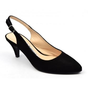 Escarpins cuir daim, noires, mi-saison, Yves de Beaumond, petits talons 6 cm, Calicia, femmes petites pointures
