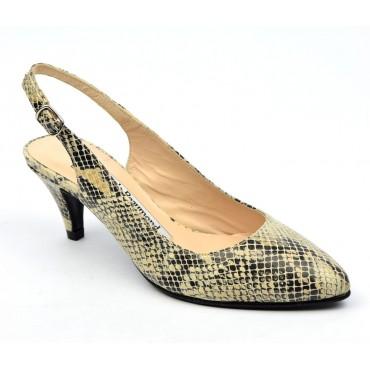 Escarpins cuir, motif serpent beige, mi-saison, Yves de Beaumond, petits talons 6 cm, Calicia, femmes petites pointures
