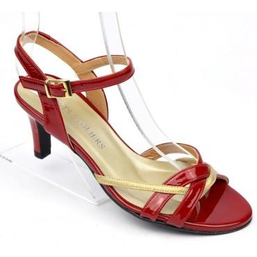Sandales cuir verni, Brenda Zaro, talon 7 cm, rouges, Annabelle