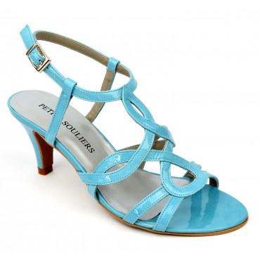 Sandales Cuir verni Brenda Zaro, bleues, talon 6,5 cm, Jessy