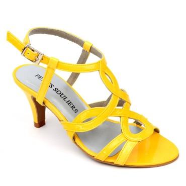 Sandales Cuir verni Brenda Zaro, jaunes, talon 6,5 cm, Jessy