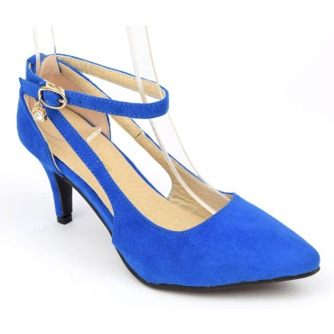 Escarpins mi-saison, petites pointures, aspect daim, talon 7 cm, bleues, Sonia