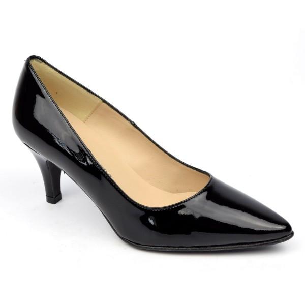 Escarpins cuir verni, noires, Brenda Zaro, bouts pointus, petits talons 6.5 cm, Lise