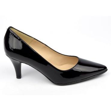 Escarpins cuir verni, noires, Brenda Zaro, bouts pointus, petits talons 6.5 cm, Lise, F97803D