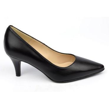 Escarpins cuir, mates, noires, Brenda Zaro, bouts pointus, petits talons 6.5 cm, Lise, F97803D