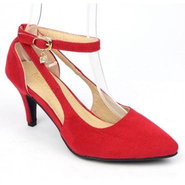 Escarpins mi-saison, petites pointures, aspect daim, talon 7 cm, rouges, Sonia