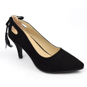 Escarpins, aspect daim, noires, talons 7 cm, petites pointures, femmes, Lenka