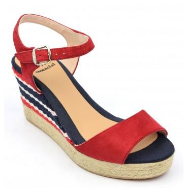 Sandales cuir daim, compensées,rouges, femmes, petites pointures , Alexia, Toni Pons Essential