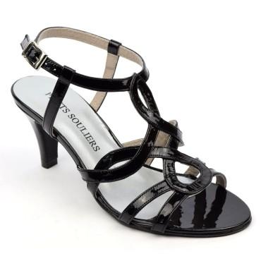 Sandales Cuir verni Brenda Zaro, noires, talon 6,5 cm, Jessy