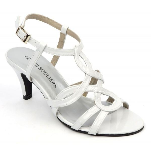 design élégant gamme exclusive magasin officiel Sandales Cuir verni Brenda Zaro, blanches, talon 6,5 cm, Jessy - PETITS  SOULIERS