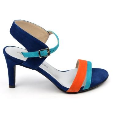 Sandales cuir daim, bleu roi, talon 7,5 cm, Brenda Zaro, Helira, femmes petites pointures