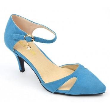 Escarpins mi-saison, aspect daim, bleues, talons 7 cm, petites pointures, femmes, Laurine