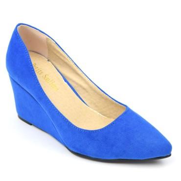 Chaussures compensées, bleues, aspect daim, talons 6,5 cm, bouts pointus, femmes, petites pointures, Carly