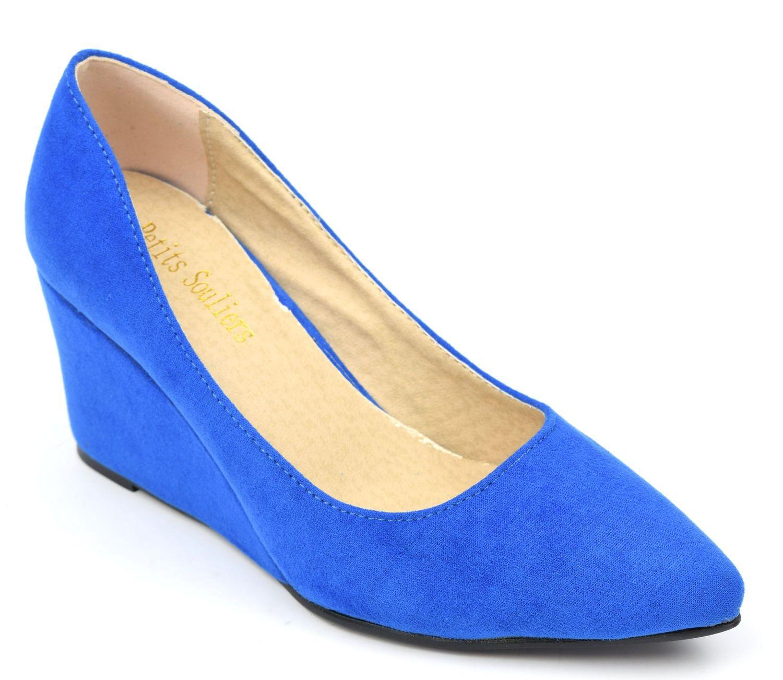 467f346b4e514c Chaussures compensées, bleues, aspect daim, talons 6,5 cm, bouts pointus