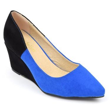 Chaussures compensées, b-colores bleues et noires, aspect daim, talons 6,5 cm, bouts pointus, femmes, petites pointures, Daya