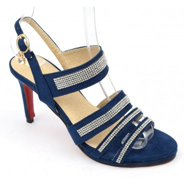 Sandales, aspect daim, bleu marine, strass, femmes petites pointures, Angie