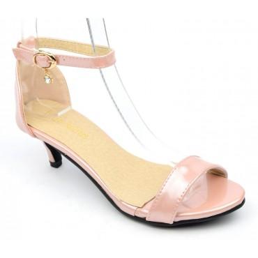 Sandales nus pieds, vernies, rose nacré, talon 4 cm, brides, Naoline
