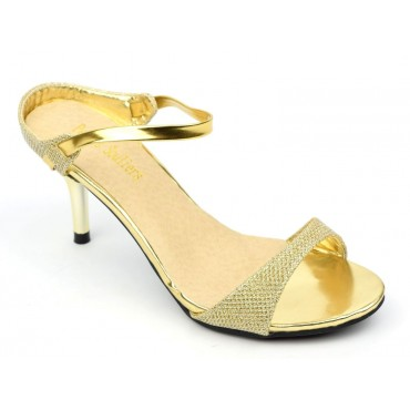 Mules, élégantes, dorées, talons 6,5 cm, femmes petites pointures, Joline
