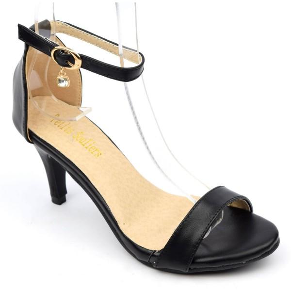 sandales nus pieds aspect cuir mate noires talon 6 5 cm brides oriane petits souliers. Black Bedroom Furniture Sets. Home Design Ideas