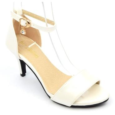 Sandales nus pieds, aspect cuir mate, blanc nacré, talon 6,5 cm, brides, Shanon