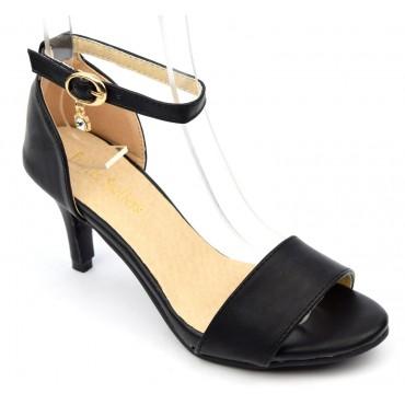 Sandales nus pieds, aspect cuir mate, noires, talon 6,5 cm, brides, Shanon