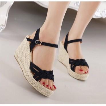 Sandales compensées, jean, noires, Isma, femmes petites pointures
