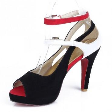 Sandales tricolores noire, blanc et rouge, aspect daim, Coraline