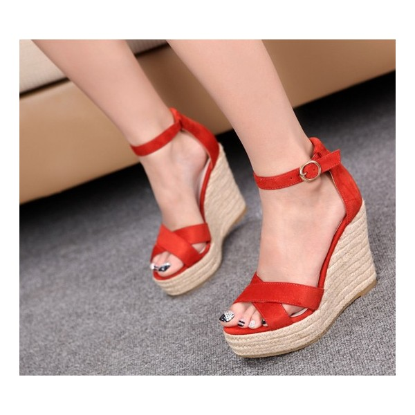 48658105a04bf Chaussures Compensées Rouge Femme